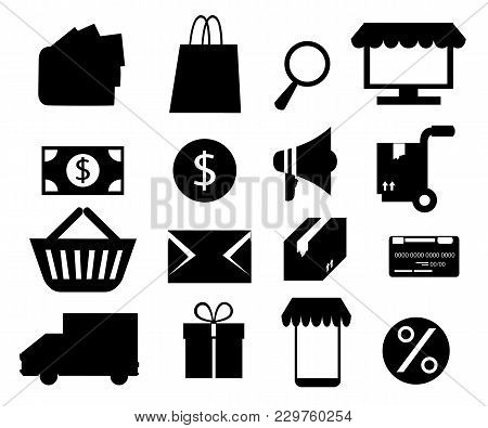 Set Of Black Icon For Online Shopping. Vector Illustration Isolated On White Background. Website Pag