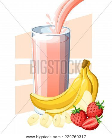 Strawberry Banana Juice. Fresh Fruit And Berry Juice In Glass. Juice Flow And Splash In Full Glass.