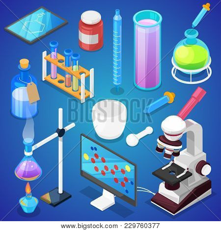 Chemistry Vector Chemical Science Or Pharmacy Research In Laboratory For Technology Or Experiment In