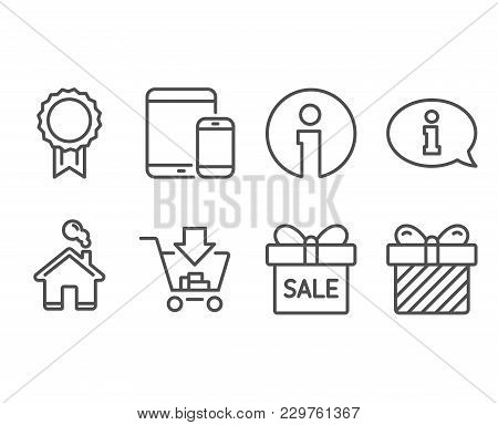 Set Of Sale Offer, Shopping And Reward Icons. Information, Mobile Devices And Surprise Signs. Gift B
