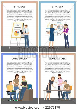 Strategy Office Work Working Task Set Of Posters With Workers Making Presentation Near Chartboard, D