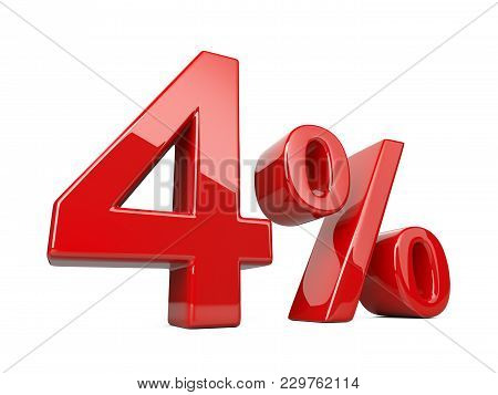 Four Red Percent Symbol. 4% Percentage Rate. Special Offer Discount. 3d Illustration Isolated Over W