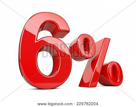 Six Red Percent Symbol. 6% Percentage Rate. Special Offer Discount. 3d Illustration Isolated Over Wh