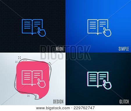 Glitch, Neon Effect. Instruction Book Line Icon. Education With Hand Pointer Symbol. E-learning Sign