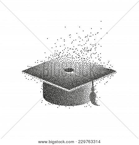 Graduation Hat Or Mortar Board. Divergent Particles Abstract Illustration. Can Be Used For Invitatio