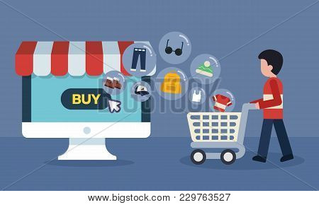 Computer Online Store Concept. Shopping Online With Goods Icons Transfer. Man And Cart At Supermarke