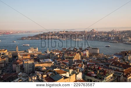 Istanbul, Turkey - March 18: Istanbul Downtown With Blue Mosque, Hagia Sophia And Topkapi Palace On