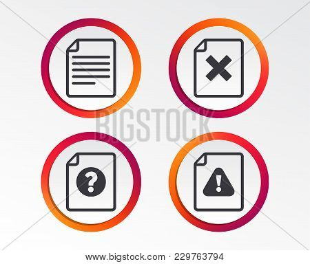 File Attention Icons. Document Delete Symbols. Question Mark Sign. Infographic Design Buttons. Circl