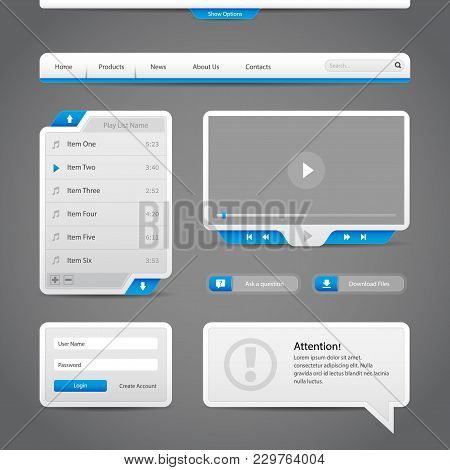 Web Ui Controls Elements Gray And Blue On Dark Background: Video Player, Play, Stop, Search, Downloa