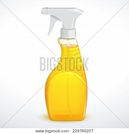 Spray Pistol Cleaner Plastic Bottle White With Yellow Orange Liquid Transparent. Vector Eps10