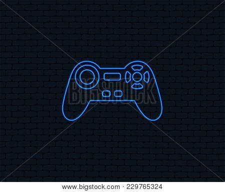 Neon Light. Joystick Sign Icon. Video Game Symbol. Glowing Graphic Design. Brick Wall. Vector