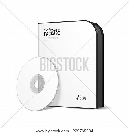 White Rounded Modern Software Package Box With Dvd, Cd Disk Or Other Your Product Eps10