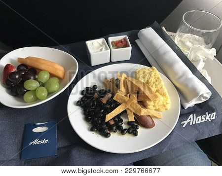 Alaska Airlines, Usa - February, 17, 2018. A Complimentary In Flight Meal For First Class Guests On
