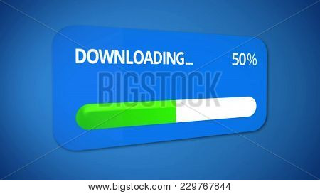 Notification Window About Downloading, Status Bar Shows Half Of Progress Is Over, Stock Footage