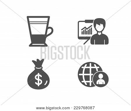 Set Of Double Latte, Money Bag And Presentation Icons. International Recruitment Sign. Tea Cup, Usd