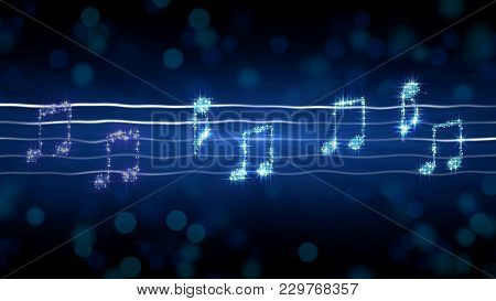 Silver Notes On Sheet Music, Moonlight Sonata Illustration, Karaoke Background, Stock Footage