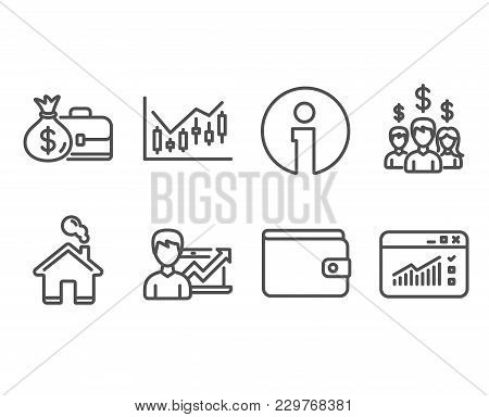Set Of Salary Employees, Money Wallet And Salary Icons. Success Business, Financial Diagram And Web