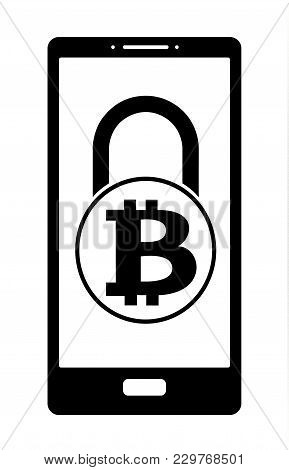 Electronic Security Lock Of Bitcoin In A Phone ,vector Icon, Black And White Concept , Vector Disign