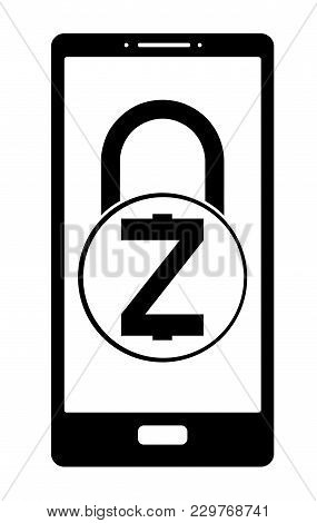 Electronic Security Lock Of Zcash In A Phone ,vector Icon, Black And White Concept , Vector Disign.