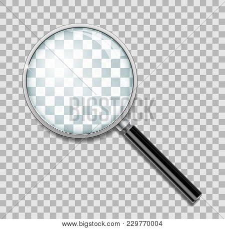 Magnifying Glass With Steel Frame Isolated. Realistic Magnifying Glass Lens For Zoom On Transparent