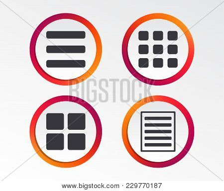 List Menu Icons. Content View Options Symbols. Thumbnails Grid Or Gallery View. Infographic Design B