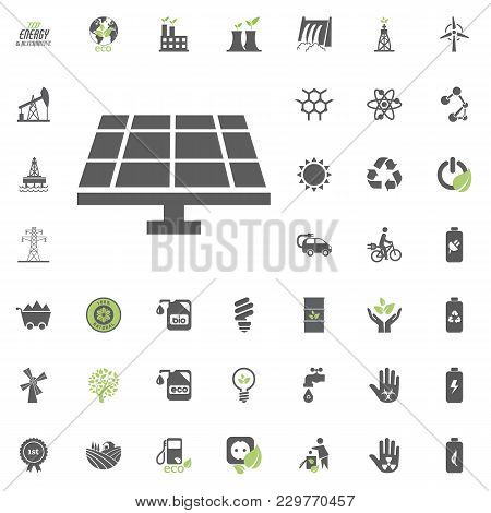 Solar Power Station Icon. Eco And Alternative Energy Vector Icon Set. Energy Source Electricity Powe