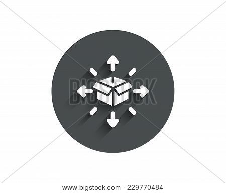 Parcel Delivery Simple Icon. Logistics Service Sign. Tracking Symbol. Circle Flat Button With Shadow