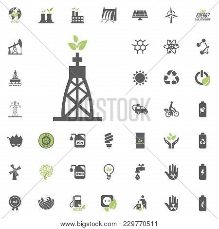 Gas-fired Power Plant Icon. Eco And Alternative Energy Vector Icon Set. Energy Source Electricity Po