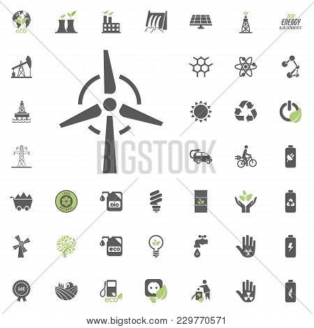 Wind Power Plant Icon. Eco And Alternative Energy Vector Icon Set. Energy Source Electricity Power R