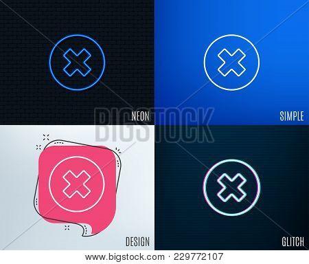 Glitch, Neon Effect. Delete Line Icon. Remove Sign. Cancel Or Close Symbol. Trendy Flat Geometric De
