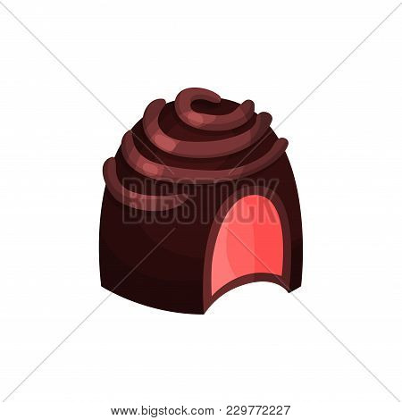 Detailed Illustration Of Candy In Dark Chocolate Glaze With Cherry Or Strawberry Filling. Tender Sou