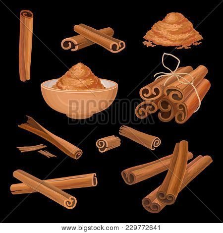 Set Of Cinnamon Sticks And Powder. Aromatic Condiment. Spicy Seasoning For Dishes, Sweets And Drinks