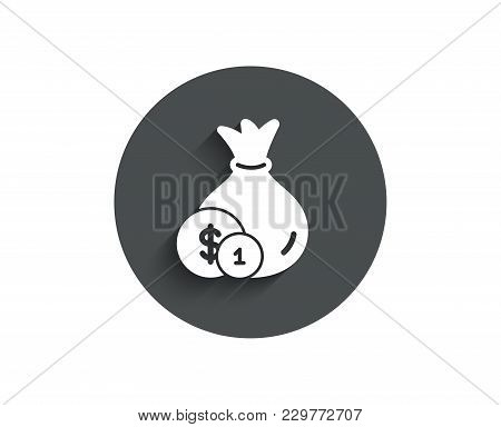 Money Bag With Coins Simple Icon. Cash Banking Currency Sign. Dollar Or Usd Symbol. Circle Flat Butt
