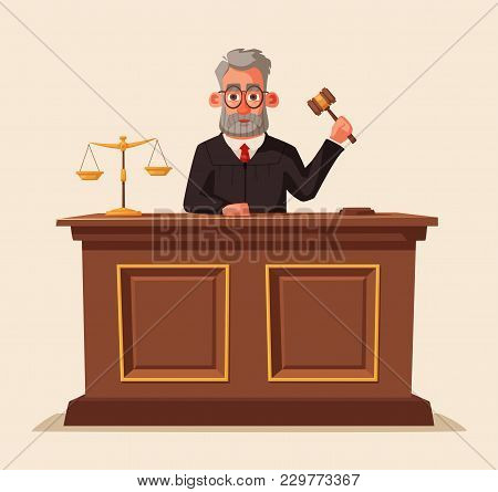 Judge Character With Hammer. Cartoon Vector Illustration. Juistice Concept.law Judicial Legal Procee
