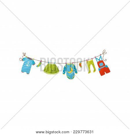 Baby Romper, Socks, Skirt, Bodysuit, Tights And Shorts Overall Handing On Rope. Apparel For Girl And