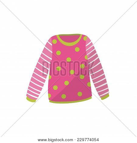 Pink Baby Sweater In Green Polka-dot. Cute Warm Pullover With Striped Sleeves. Children S Apparel. C