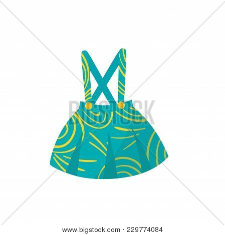 Little Turquoise Skirt With Braces, Buttons And Yellow Pattern. Stylish Kids Garment. Cute Apparel F