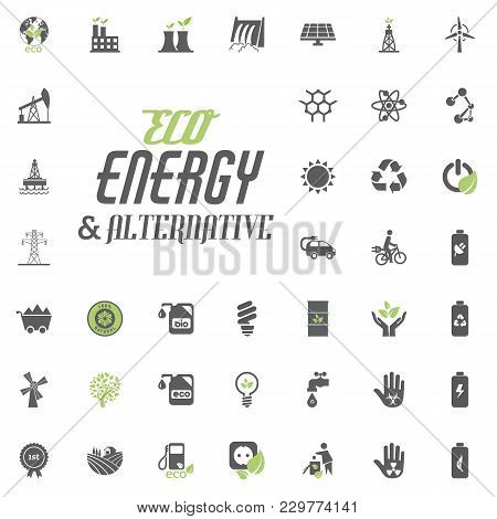 Eco And Alternative Energy Vector Icon Set. Energy Source Electricity Power Resource Set Vector
