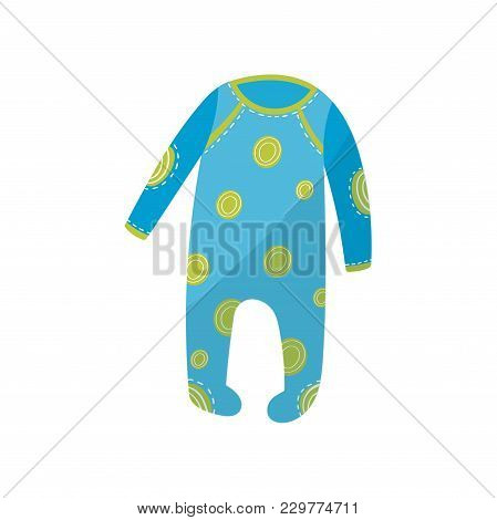 Cartoon Icon Of Blue Baby Romper With Green Round Patterns. Garment For Newborn Boy Or Girl. Childre
