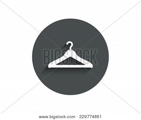 Cloakroom Simple Icon. Hanger Wardrobe Sign. Clothes Service Symbol. Circle Flat Button With Shadow.
