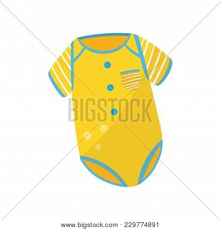 Adorable Baby Bodysuit With Short Sleeves, Round Buttons And Little Pocket. Stylish Children S Cloth