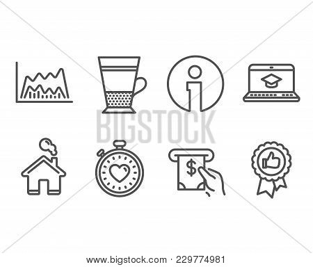 Set Of Heartbeat Timer, Double Latte And Atm Service Icons. Trade Chart, Website Education And Posit