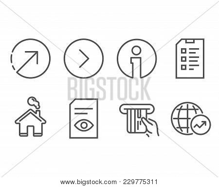 Set Of View Document, Credit Card And Forward Icons. Direction, Checklist And World Statistics Signs