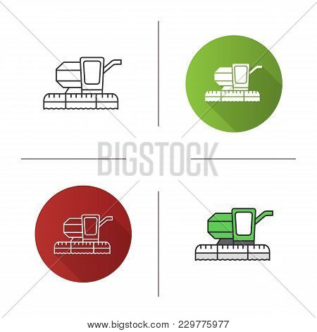 Combine Harvester Icon. Flat Design, Linear And Color Styles. Agricultural Implement. Isolated Vecto
