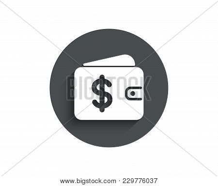 Shopping Wallet Simple Icon. Dollar Sign. Usd Money Pocket Symbol. Circle Flat Button With Shadow. V