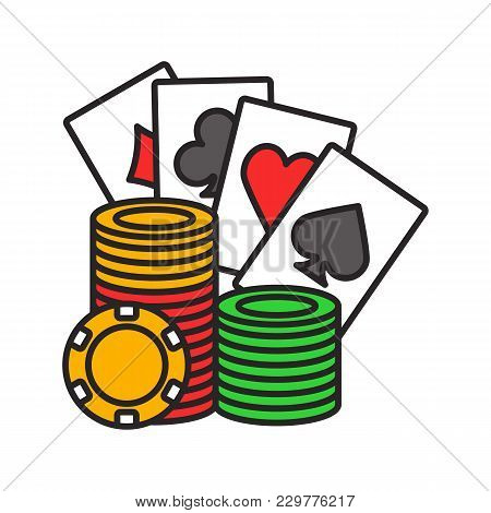 Casino Chips Stack With Playing Cards Color Icon. Casino. Poker. Isolated Vector Illustration