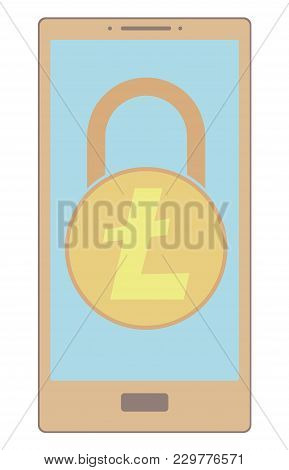 Electronic Security Lock Of Litecoin In A Phone ,vector Icon,color Concept , Vector Disign.