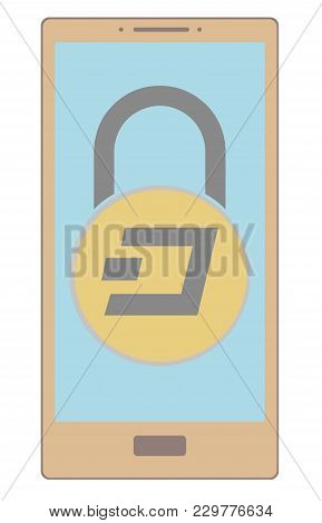 Electronic Security Lock Of Dash In A Phone ,vector Icon,color Concept , Vector Disign.
