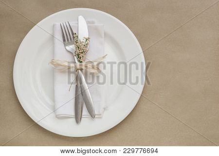 Spring Table Setting, Elegant And Romantic Neutral Background, With Copy Space