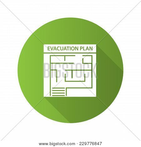 Evacuation Plan Flat Design Long Shadow Glyph Icon. Fire Escape Plan. Vector Silhouette Illustration